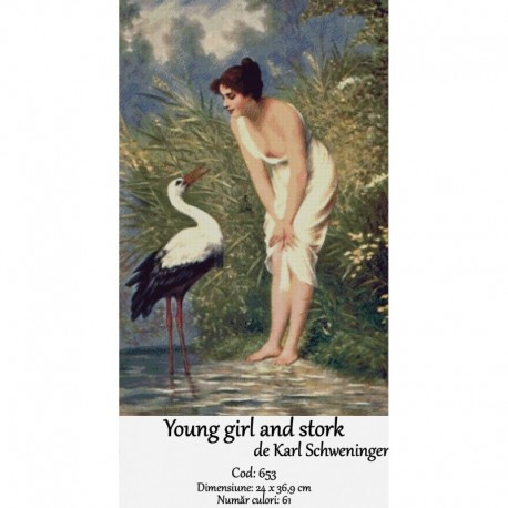 Young girl and stork