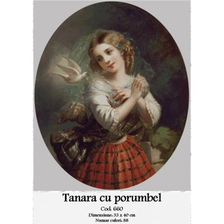 Set goblen - Tanara cu porumbel