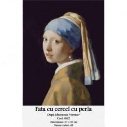 Set goblen - Fata cu cercel de perla dupa J. Vermeer