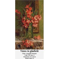 Set goblen - Vaza cu gladiole dupa Georgette Meunier