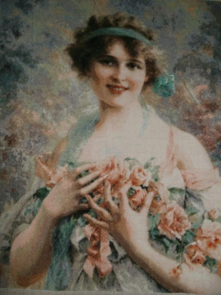 Goblen - Fata cu Trandafiri