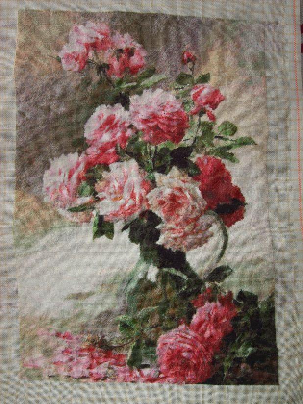 Goblen cusut – Trandafiri de Albert Tibulefurcy