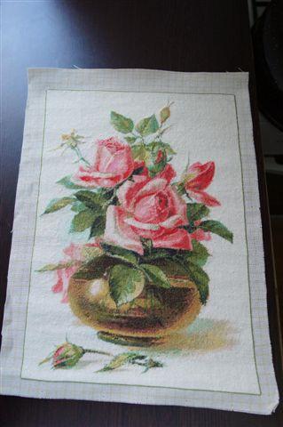 Goblen cusut - Vas cu Trandafiri