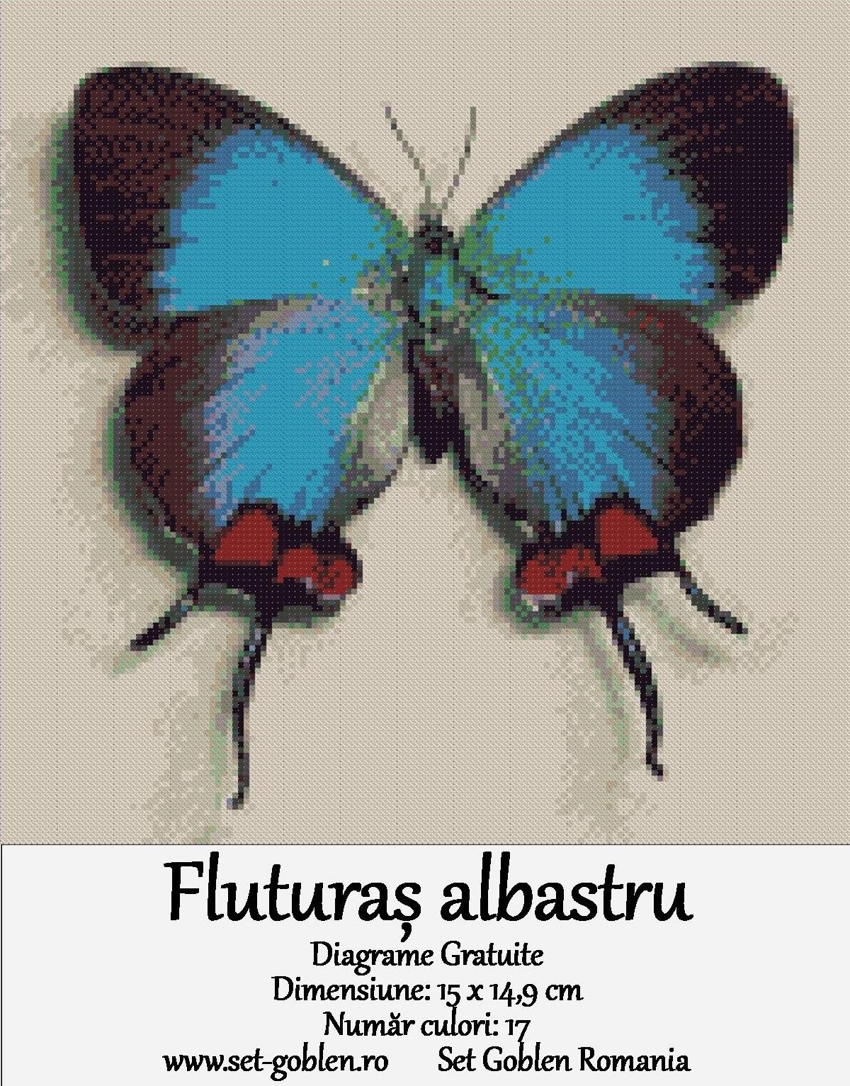 Goblen cu diagrame gratuite – Fluturaș albastru