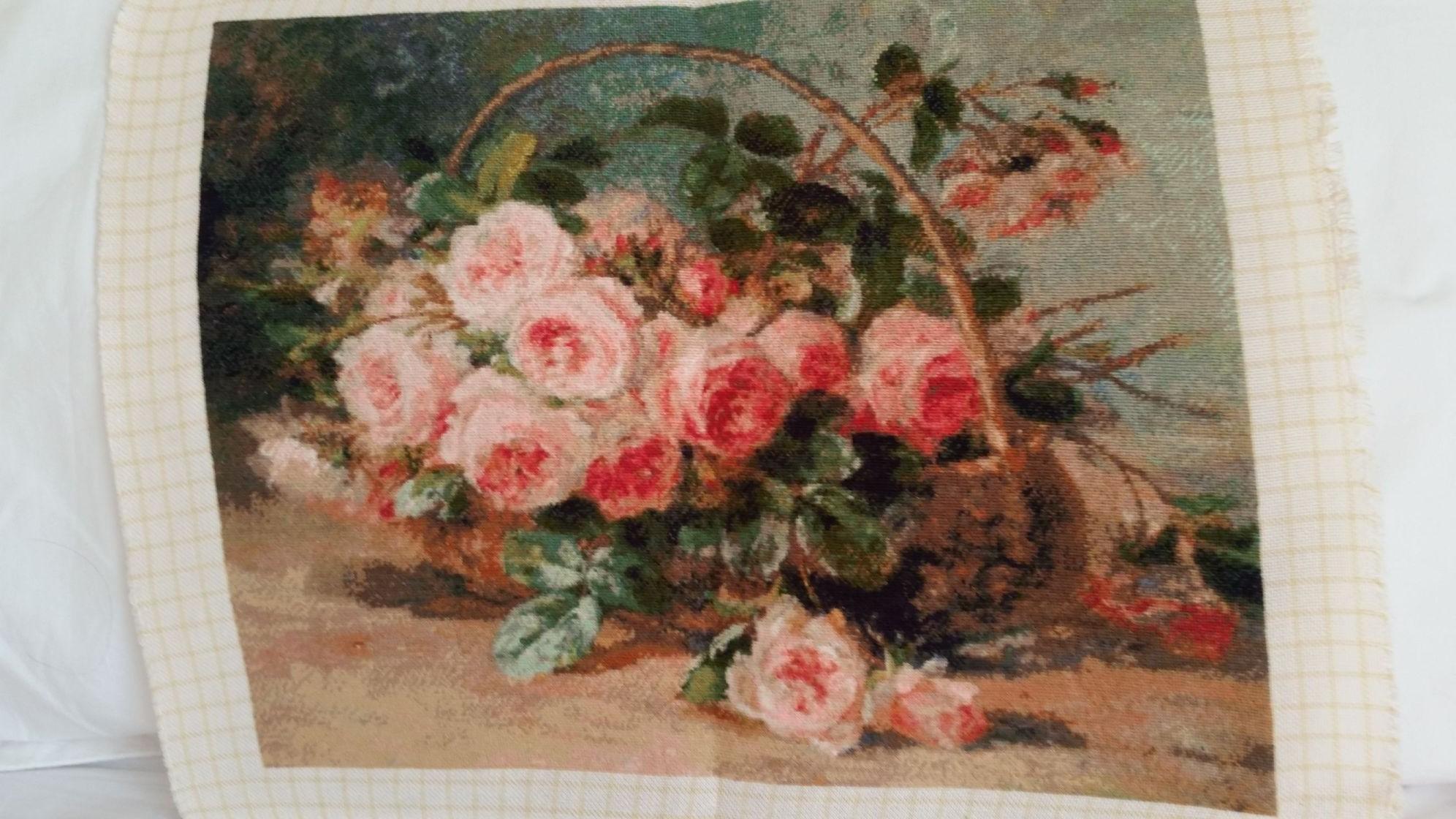 Goblen cusut – Coș cu Trandafiri de L. Scheel