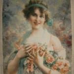 Goblen cusut – Fata cu Trandafiri