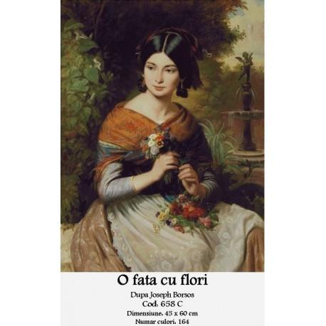 Set goblen - O fata cu flori de Jozsef Borsos