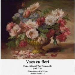 Set goblen - Vaza cu flori dupa Edmond Van Coppenolle