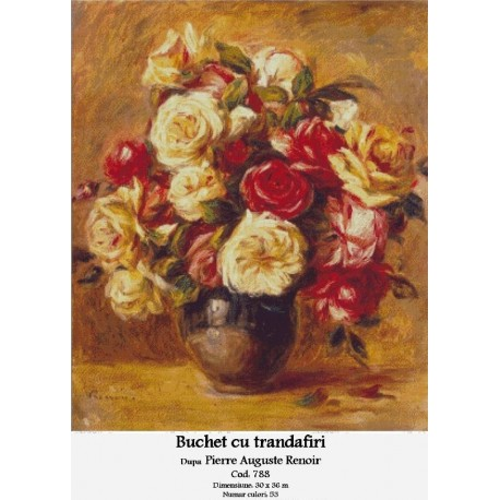 Set goblen - Buchet cu trandafiri dupa Pierre Auguste Renoir